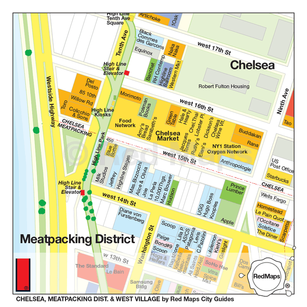 Map showing the shopping and restaurants of the Meatpacking District in NYC near to Chelsea Market and the High Line Park.