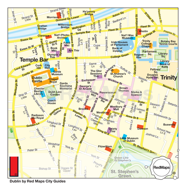 Detail of a map of Central Dublin showing things to do in the area around Trinity College and Dublin Castle.