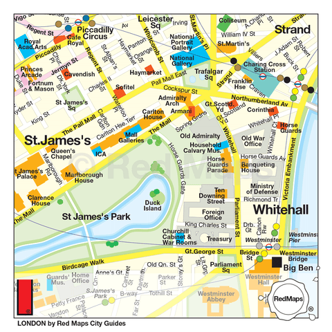city map of London that shows in detail the areas of St James's Park and Whitehall
