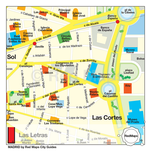Map of historic central Madrid Spain that shows hotels,,shopping and museums.