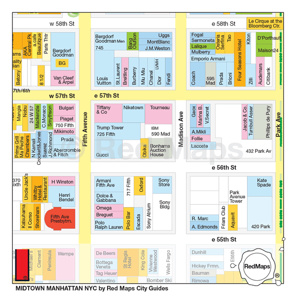 Map showing the stores, hotels and landmarks near Trump Tower, Fifth Avenue and East 57th Street in Midtown Manhattan.
