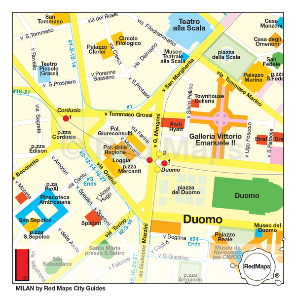 Map of Milan showing landmarks, shopping and metro stations near the Duomo, the Galleria Vittorio Emanuele, and La Scala.