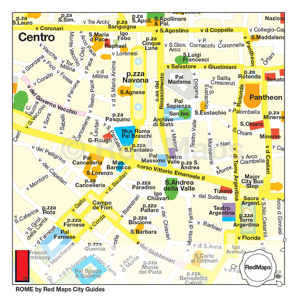 Map of Rome showing palazzos and museums near Piazza Navona and the Pantheon in central Rome.