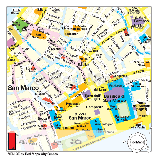 Map that shows the area around St. Mark's Basilica in Venice, with museums, shopping, historic buildings and hotels.