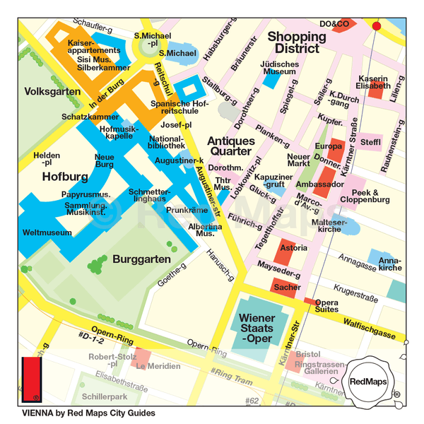 Vienna city map with the shopping, hotels, and important landmarks near the Hofburg Palace and the WIener Staats-Oper.