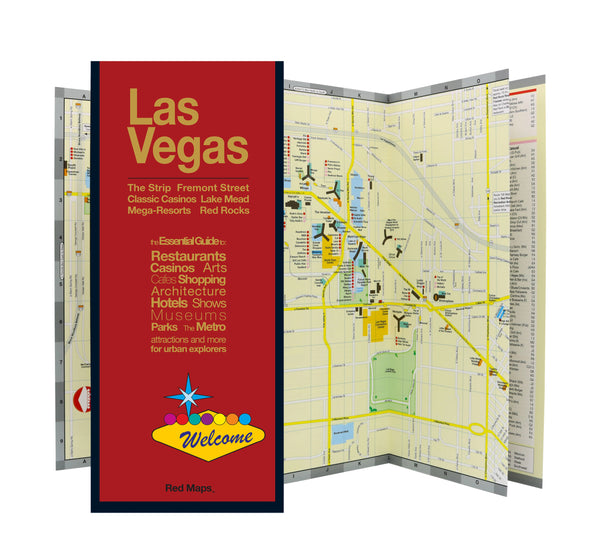 Foldout Las Vegas travel map showing strip's casinos, shopping, hotels and restaurants.