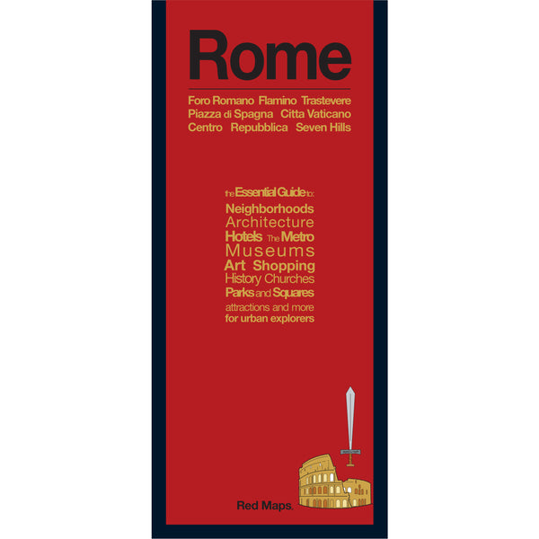 foldout map of Rome Italy with a red cover