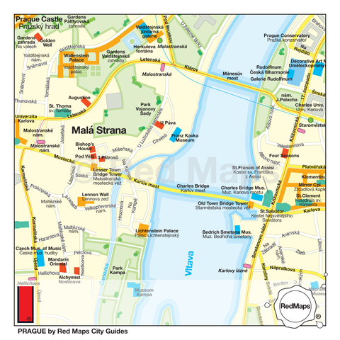 A Prague map that shows the important landmarks and museums near the Vltava River.