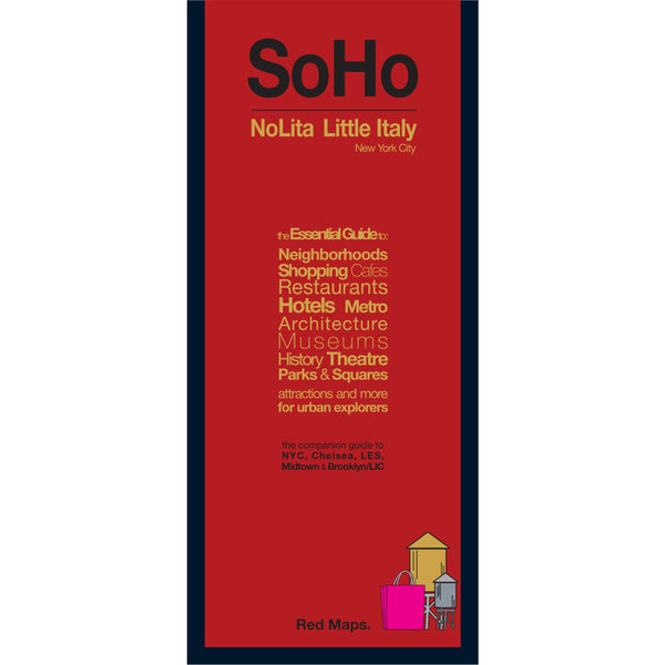 foldout map of SoHo and Nolita neighborhoods in Manhattan with a red cover