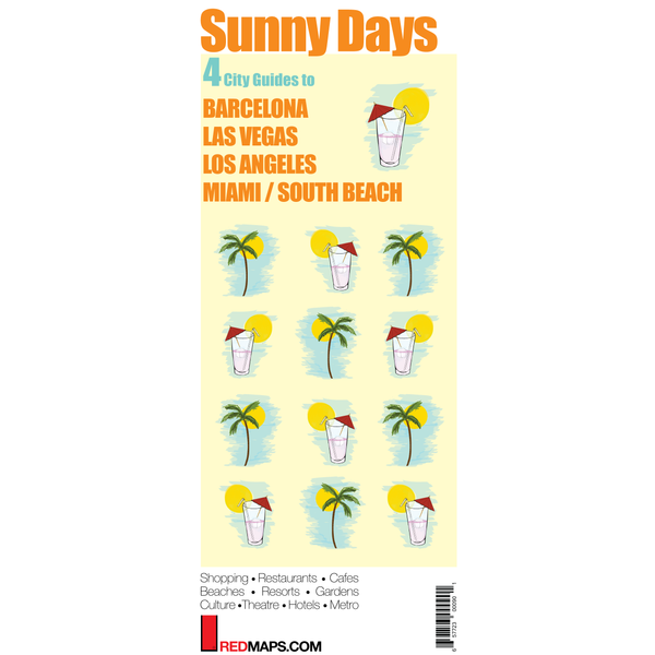 Multi-City map set called Sunny Days with 4 guides to Barcelona, Miami, Las Vegas and Los Angeles