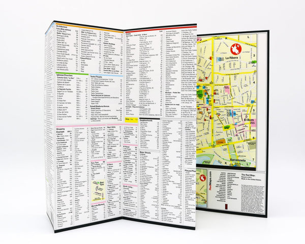 Foldout travel map of Barcelona with detailed list of points of interest and shopping in the city center.