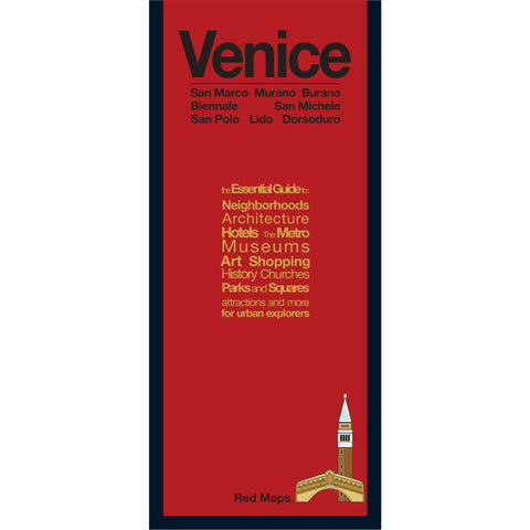 foldout map of Venice Italy with a red cover
