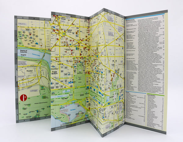 Washington DC foldout central neighborhoods map with museums and theaters.