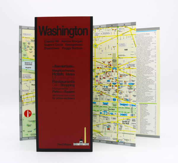 Foldout map of central Washington DC neighborhoods.