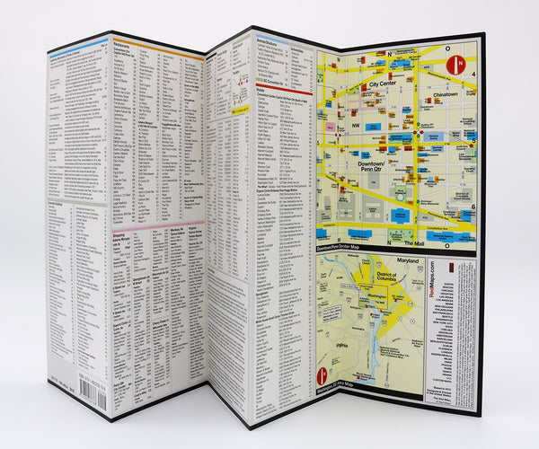 Foldout map of Washington DC with points of interest, restaurants, hotels and shopping information.