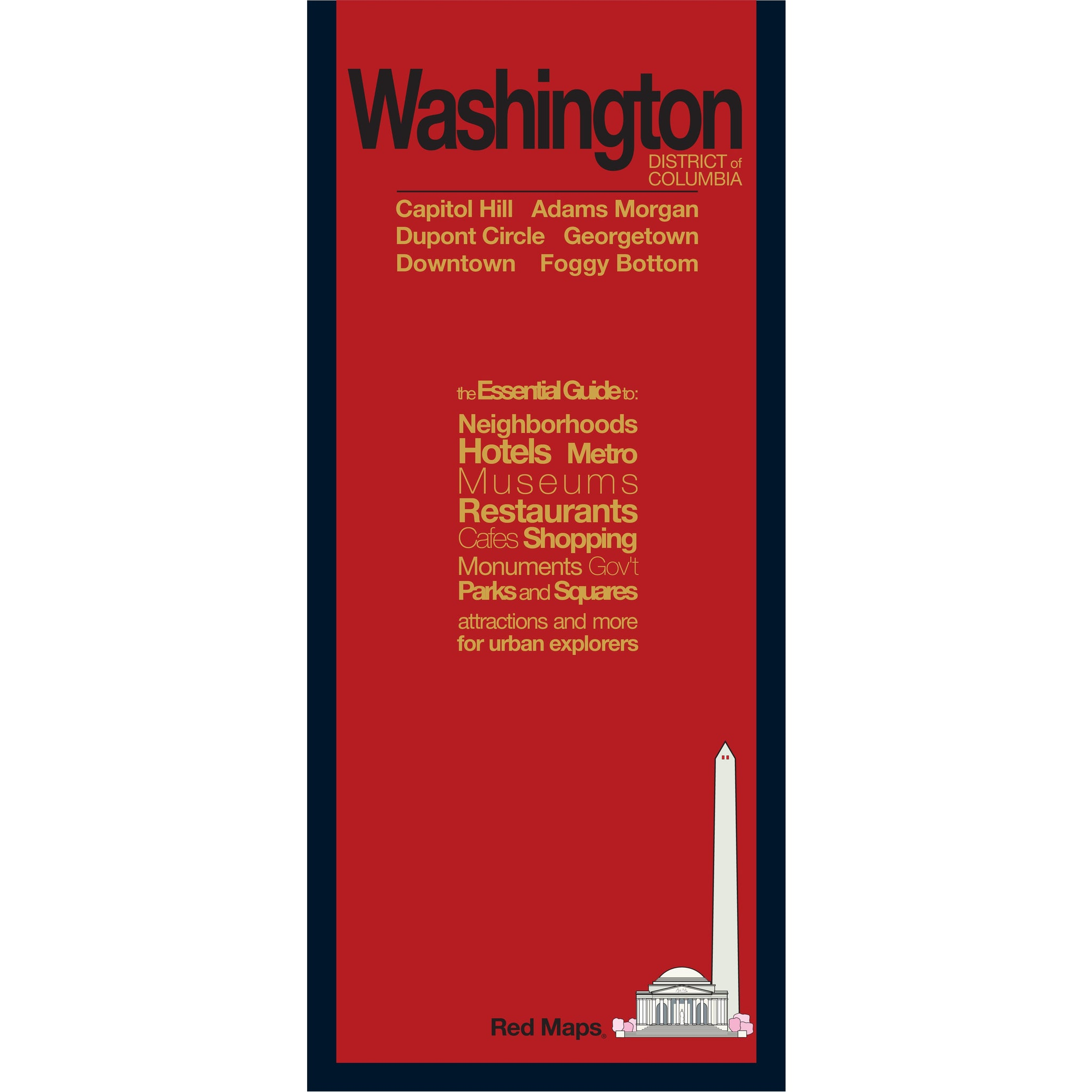 Washington DC neighborhoods travel map with a red cover.