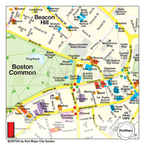 Boston travel map showing Beacon HIll and Boston Common neighborhood theatre, restaurants and hotels.