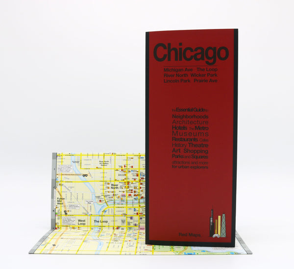 Foldout map of central Chicago neighborhoods..