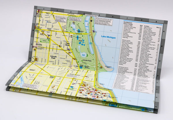 Travel map of Chicago with neighborhoods, parks and places of interest.
