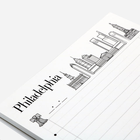 Philadelphia skyline themed notepad
