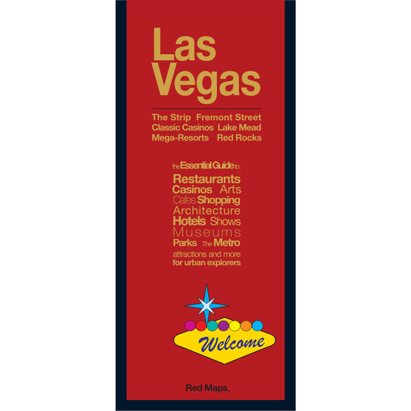 foldout travel map of Las Vegas with a red cover