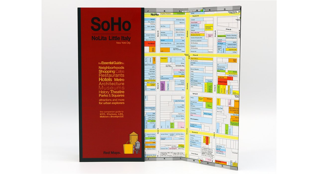 neighborhood shopping map to soho and nolita new york city with stores shown in detail on the map