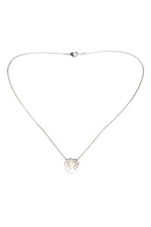 Monstera Necklace-Silver