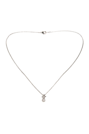 Dainty Diamond Pineapple Necklace-Silver