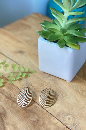 Oval Leaf Earring-Gold