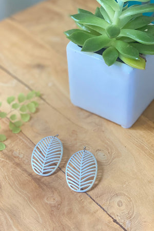 Oval Leaf Earring-Silver
