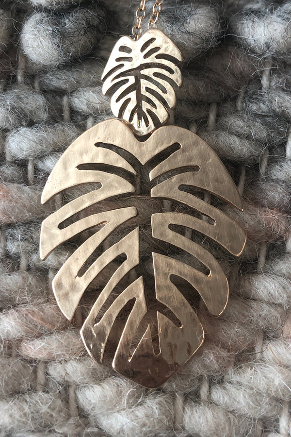 Double Monstera Necklace-Gold