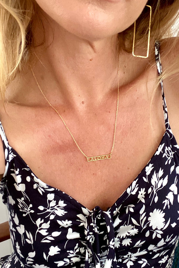 Aloha Bar Necklace-Gold