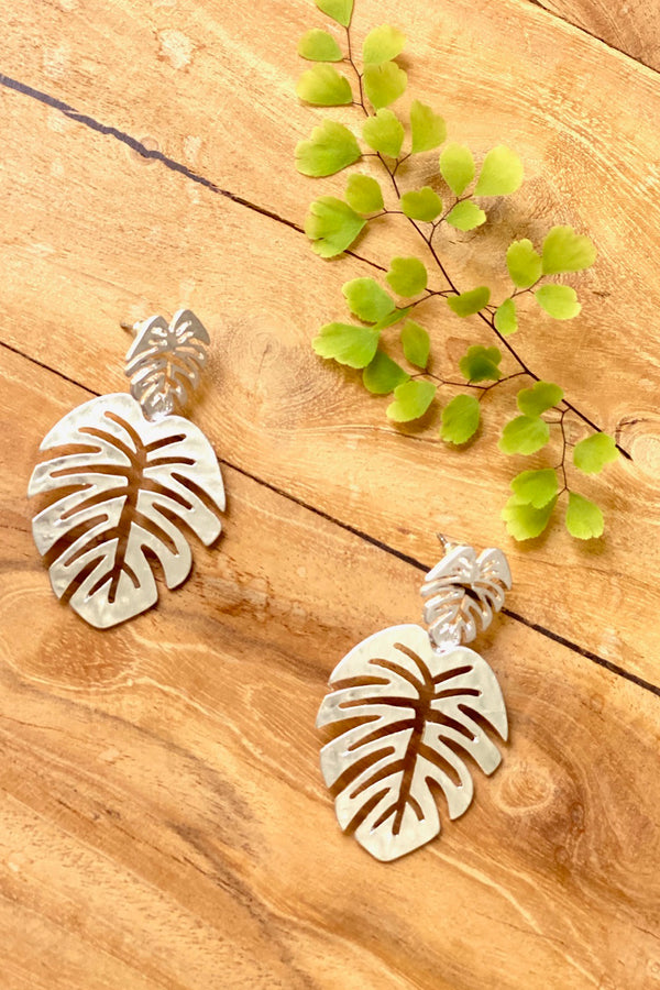 Double Monstera Earrings-Silver