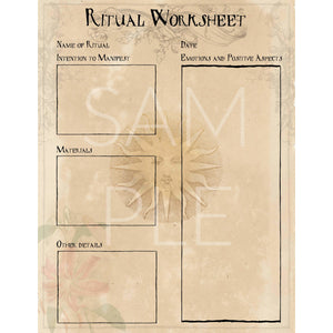 Manifestation Ritual  Worksheet Tracker Digital Download Printable