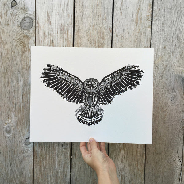 Black & White Owl Print