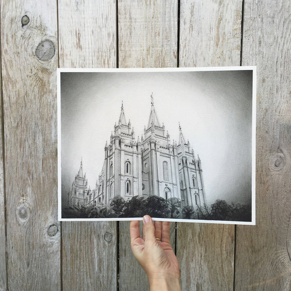 Salt Lake City LDS Temple Print (Graphite)