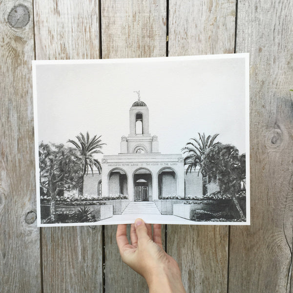 Graphite Newport Beach LDS Temple Print