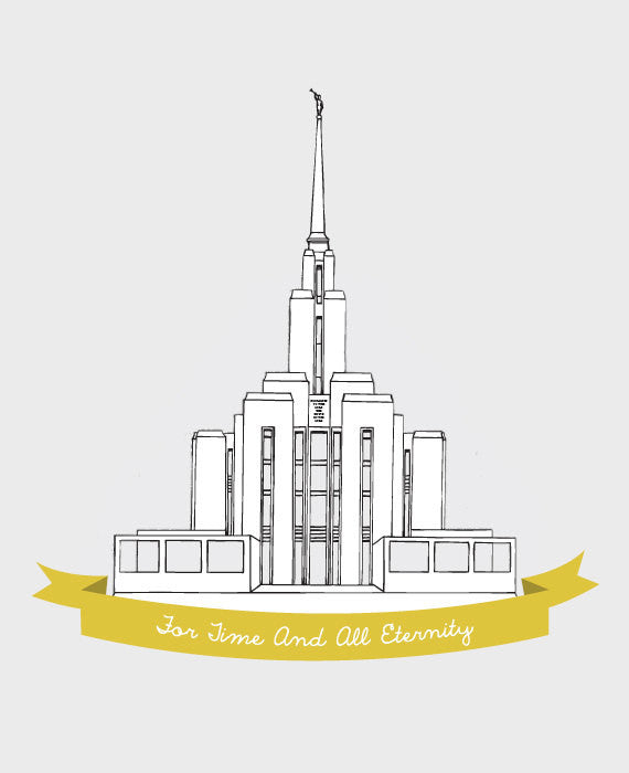 Custom Oquirrh Mountain LDS Temple Illustration - Archival Art Print