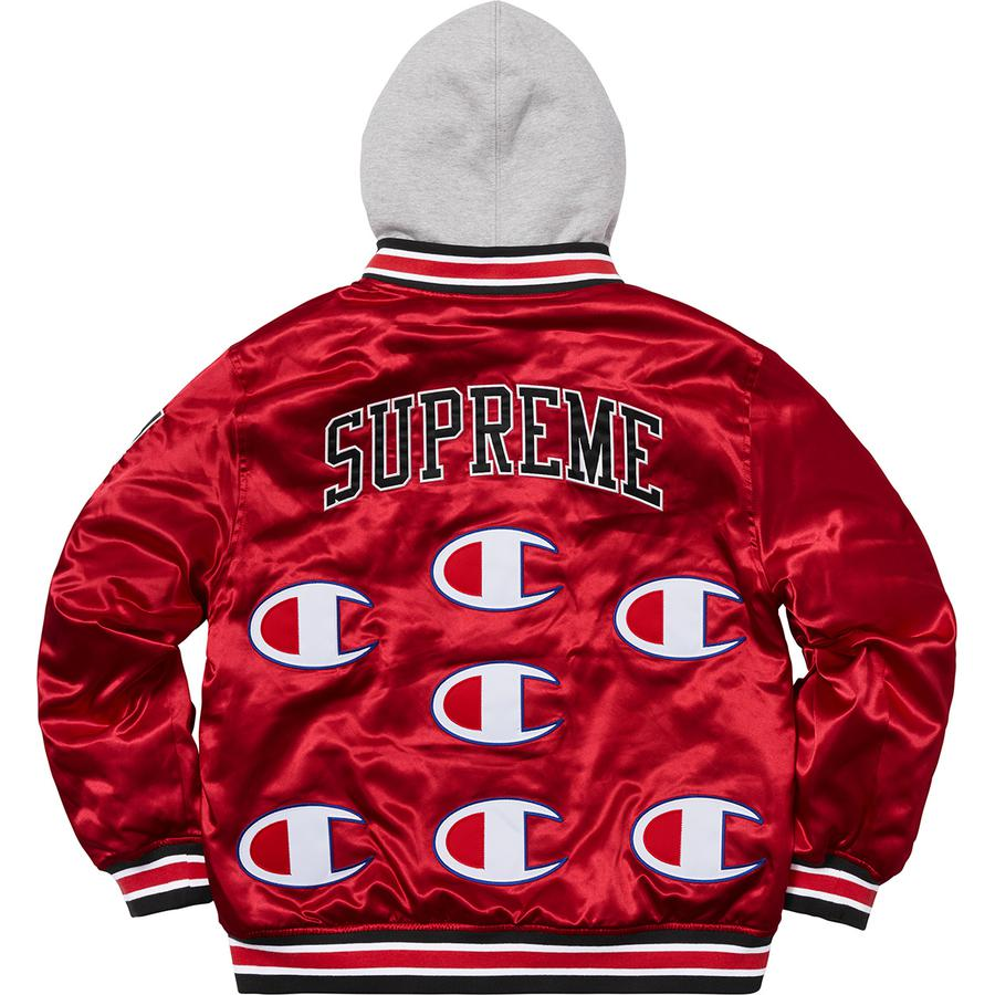 Supreme x Champion Hooded Satin Varsity Jacket - World Wide Drip
