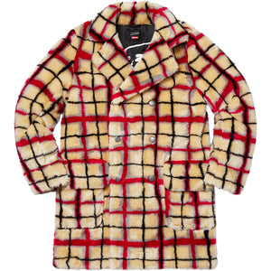 Supreme x Jean Paul Gaultier Double Breasted Plaid Faux Fur Coat - World Wide Drip