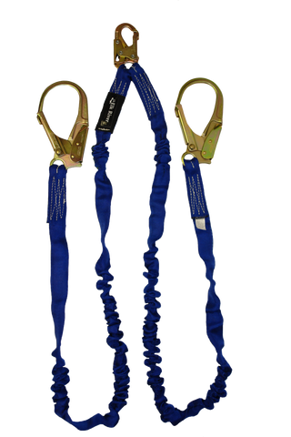 blue nylon energy absorbing web lanyard snap hook rebar