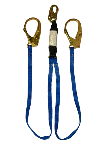 Blue nylon zorber twin leg energy absorbing lanyard