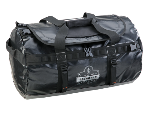 black rubberized nylon water resistant duffel bag