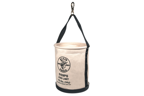 Klein white canvas bucket with pocket and swivel snap