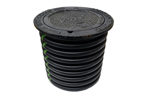 Black corrugated test well with iron lid