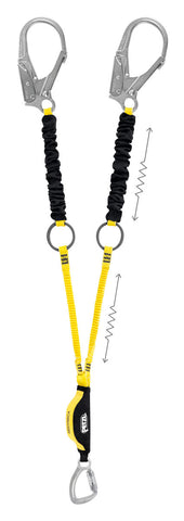 Petzl Absorbica - Y Tie-Back Double lanyard with integrated intermediate tie-back rings and energy absorber, captive carabiner and MGO connectors