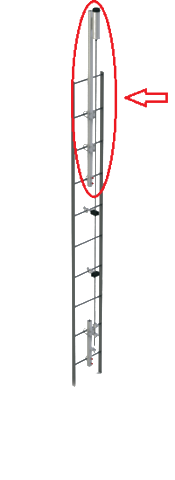 Highlighted area showing position of dbi safety climb top bracket ladder ladsaf