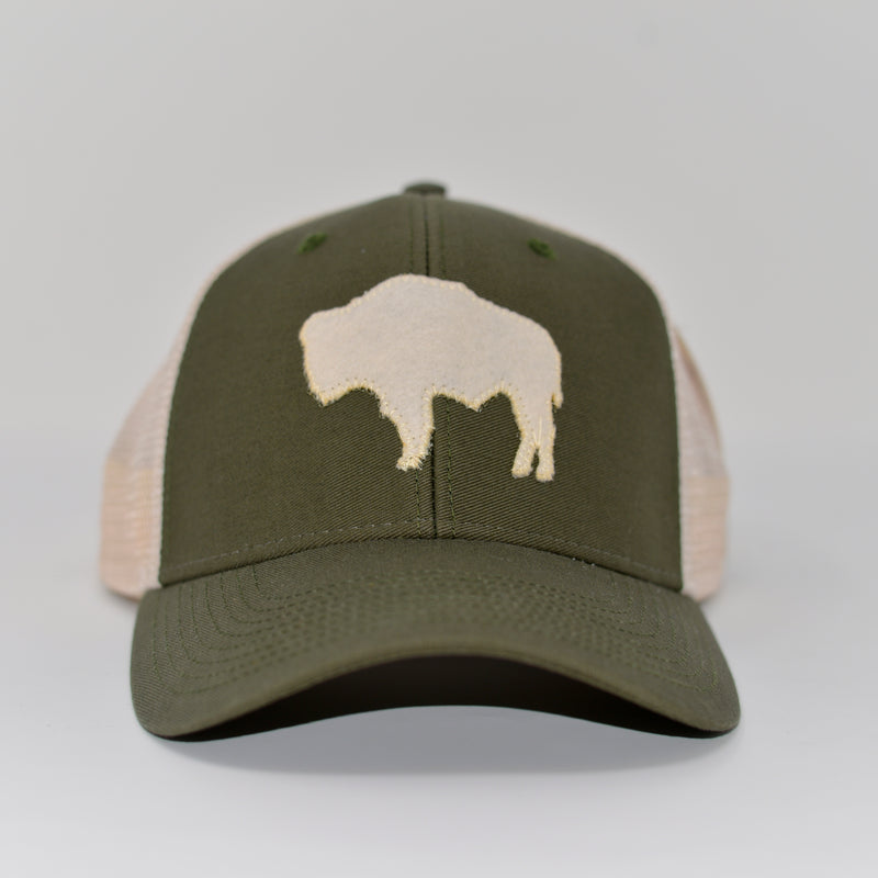 Wyoming Buffalo Mesh Hat in Green/White