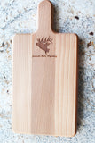 Jackson Hole elk decorated cutting board with handle