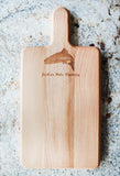 Jackson Hole trout decorated cutting board with handle
